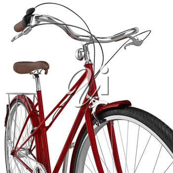 Red female bicycle with chrome wheel and leather seats. 3D graphic object on white background isolated