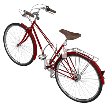 Vinous bicycle with chrome accents in the classical style. 3D graphic object on white background isolated
