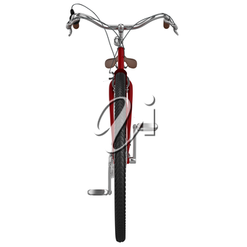 Front view of the bicycle with chrome elements and leather handles. 3D graphic object on white background isolated