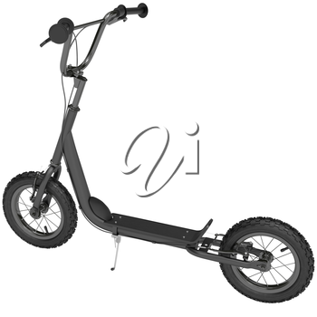 Scooter with spokes and hand brakes on a white background