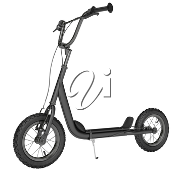 Kick scooter chrome plating leg on a white background