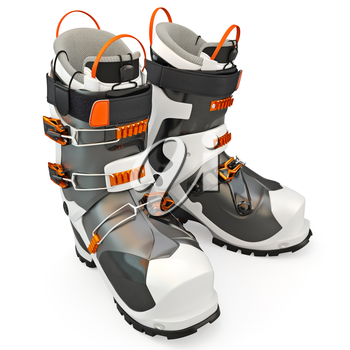 Hiking boots black - white, isolated on a white background