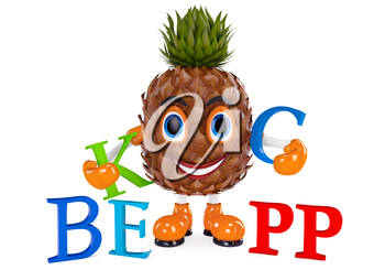 Pineapple character with letters. Illustrated Pineapple white background