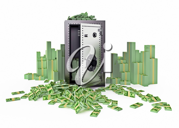 Steel strongbox surrounded with money, Front view