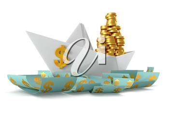 Conceptual paper boat floating in the dollar currency and carries a large pile of coins isolated on a white background