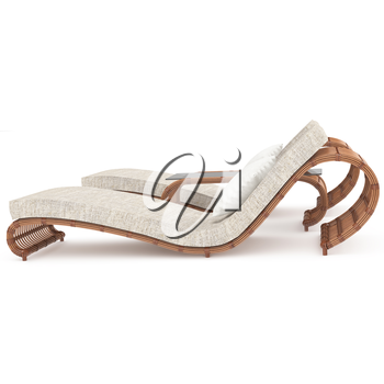 Furniture set with a table on a white background isolated wood rattan. 3D graphics