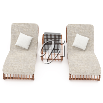 Rattan furniture isolated on a white background for your comfort. 3D graphics