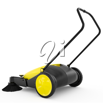 Sweeper yellow color with handle and large wheels on a white background isolated