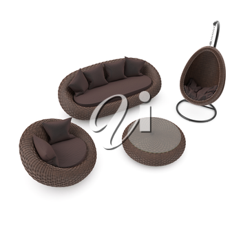Chair, sofa, table and hanging cradle chair on a white background. Set of rattan furniture