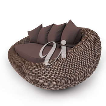 Rattan sofa view from the left with soft pillows, on a white background
