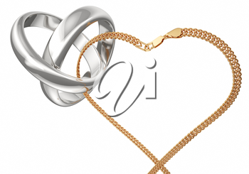 Gold rings and chain on a white background. Rings connected gold chain. Heart of the chain