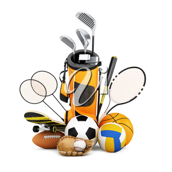 Sport equipment on white background, collection set