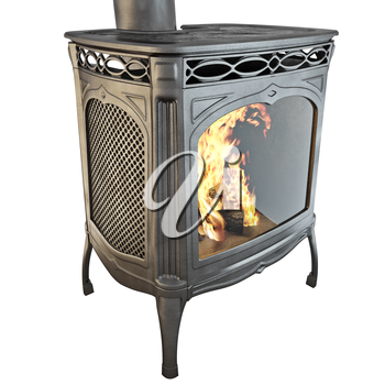 Black classic fireplace with fire isolated on a white background. 3D graphics