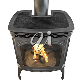 Metal fireplace with fire isolated on a white background. 3D graphics