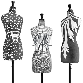 Patterned female mannequins in a black metal tripod, close view. 3D graphic object on white background