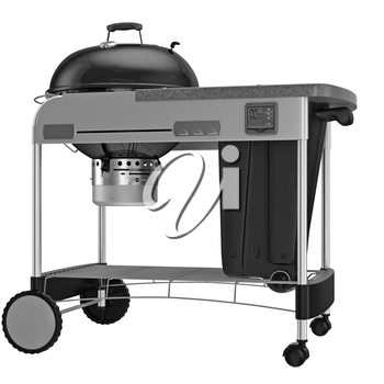 Grill with automatic timer and control system. 3D graphic object on white background isolated