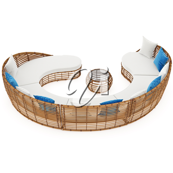 Rattan large sofa curved. 3D graphic object on white background isolated