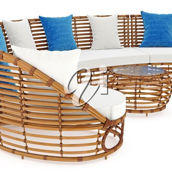 Rattan sofa end coffee table an close view. 3D graphic object on white background