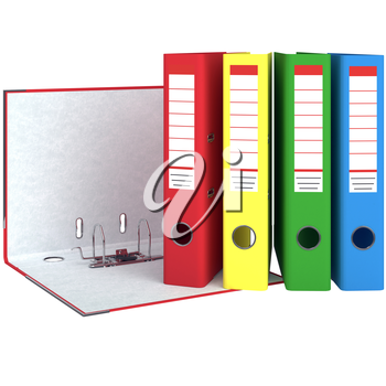 Set Folders closed and open. The mechanism for the folder. Red folder with metal corners. 3D graphic object isolated on white background
