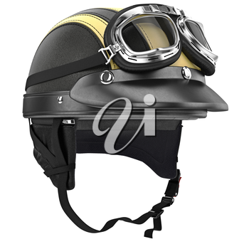 Leather motorcycle helmet and goggles retro style. 3D graphic object on white background isolated