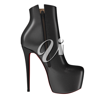 Black leather boots on high heels, side view on high heels. 3D graphic object on white background isolated