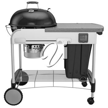 Grill with cleaning system and adjust blower. 3D graphic object on white background isolated