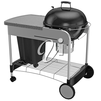 Grill on wheels with metal bars chrome plating. 3D graphic object on white background isolated