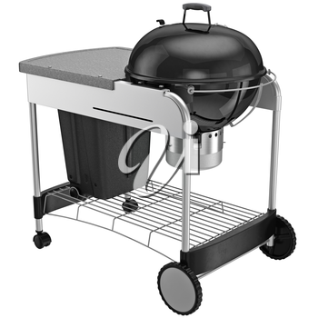 Grill a steel frame on wheels with brakes. 3D graphic object on white background isolated