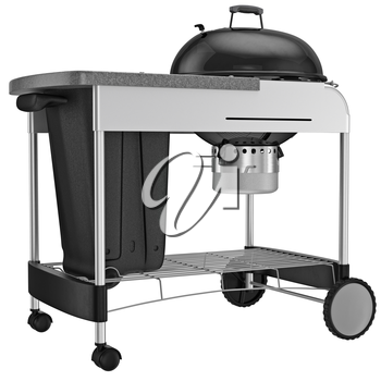 Grilling with charcoal grill for heat resistant steel. 3D graphic object on white background isolated