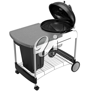 Barbecue charcoal with a desk for cooking. 3D graphic object on white background isolated