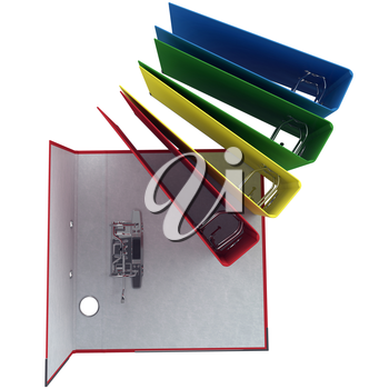 Folder open closed, top view. The light inside the folder. The mechanism of metal paper. 3D graphic object isolated on white background