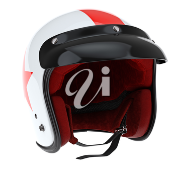 Sports helmet with glossy black visor. 3D graphic object on white background isolated