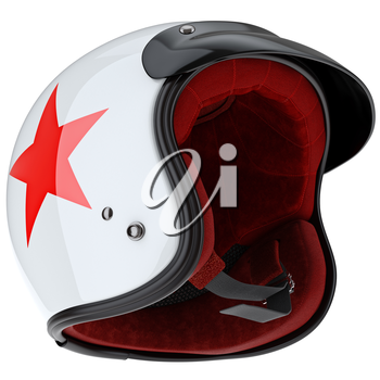 Protective sports helmet with red velvet filling. 3D graphic object on white background isolated