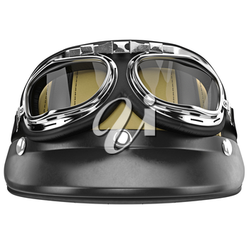 Leather motorcycle helmet with yellow stripes front view. 3D graphic object on white background isolated