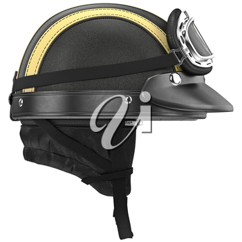 Leather motorcycle helmet with goggles and ear, side view. 3D graphic object on white background isolated