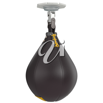 Speed punching bag with laces. 3D graphic object on white background isolated