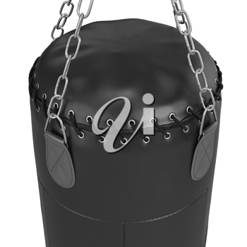 Big punching bag with laces, close view. 3D graphic object on white background