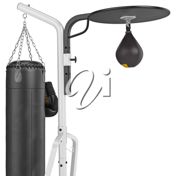 Expressway punching bag hanging on the rack, close view . 3D graphic object on white background