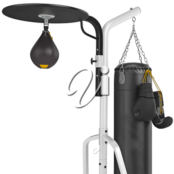Set leather punching bag with gloves, close view. 3D graphic object on white background