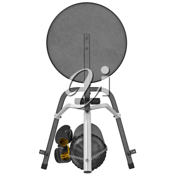 Boxing stand with punching bag, top view. 3D graphic object on white background isolated
