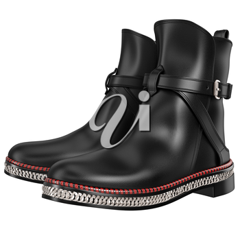 Men's black leather boots with silver chain. 3D graphic object on white background isolated