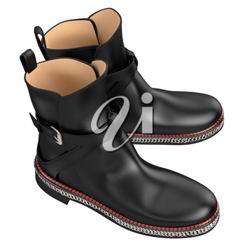 Leather black boots, top view. 3D graphic object on white background isolated