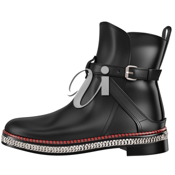 Black leather boot, side view. 3D graphic object on white background isolated