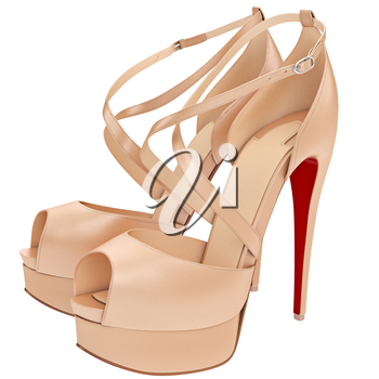 Beige sandals with heels. 3D graphic object on white background isolated