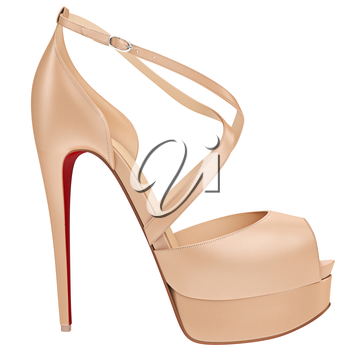 Women's beige leather sandal, side view. 3D graphic object on white background isolated