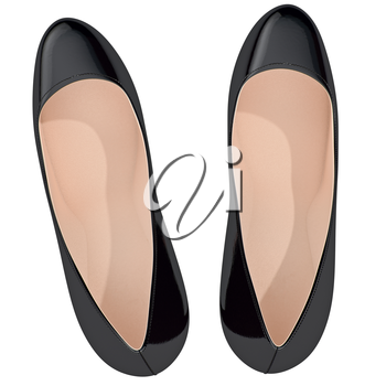 Black patent leather shoes on high heels, top view. 3D graphic object on white background isolated