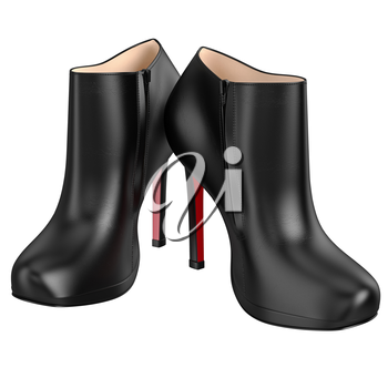 Black patent leather boots with zipper. 3D graphic object on white background isolated