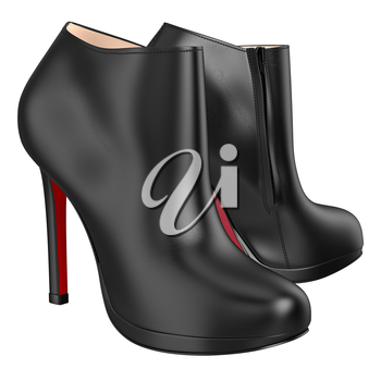 Women's leather boots. 3D graphic object on white background isolated