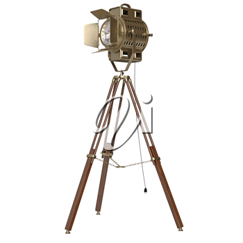 Spotlight floor lamp wooden tripod. 3D graphic object on white background isolated