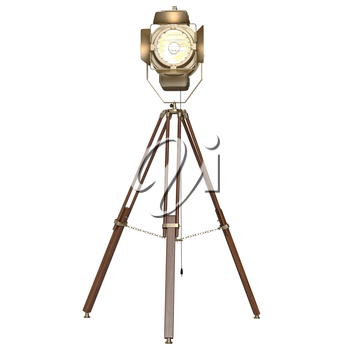 Studio floodlight wooden tripod. 3D graphic object on white background isolated